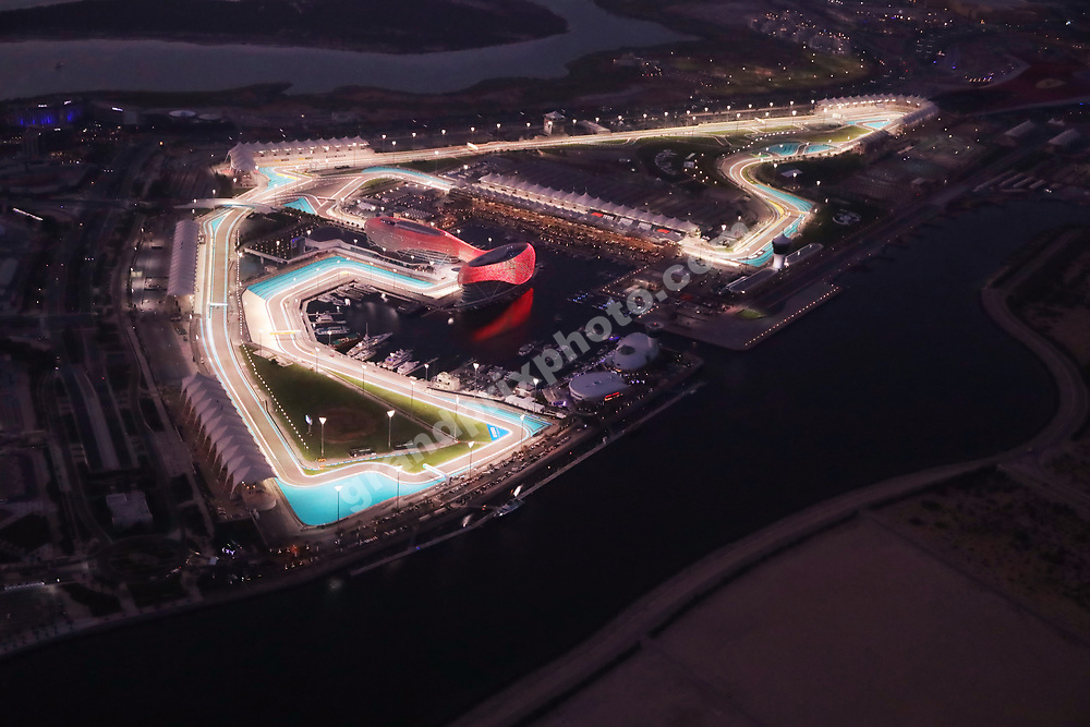 Circuit at dusk before the 2020 Abu Dhabi Grand Prix at the Yas Marina Circuit. Photo: © Copyright: FIA Pool Image via Grand Prix Photo - for Editorial Use Only