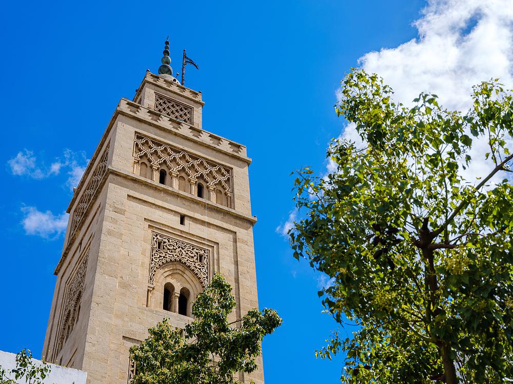 CASABLANCA, MOROCCO - CIRCA APRIL 2018: Minaret of the Muhammadi Mosque in Casablanca. Located in the Quartier Habous this is famous Mosque in Casablanca.