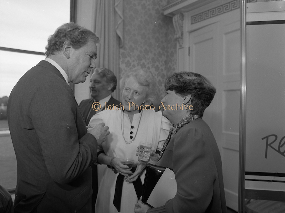 28/10/1985<br /> 10/28/1985<br /> 28 October 1985<br /> Launch of Gaisce The Presidents Award at Aras an Uachtarain. President Dr. Patrick Hillery launched the new national youth award scheme to be the nations highest award to Irish young people aged 15-25. Picture shows (l-r): Dr A.F.J. O'Reilly; Mrs. Maeve Hillery and Mrs Gemma Hussey, T.D. Minister for Education.