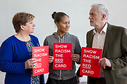 Emily Thornberry MP, England footballer Rachel Yankey and Jeremy Corbyn MP show racism the red card at an event at the Emirates stadium, Islington, London, UK. 8th February 2018.