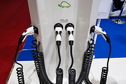 Display of electric  car charging station at 87th Geneva International Motor Show in Geneva Switzerland 2017