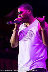 The rapper Nelly (Cornell Iral Haynes Jr.) playing the Iron Horse Saloon during the 78th annual Sturgis Motorcycle Rally. Sturgis, SD. USA. Saturday August 4, 2018. Photography ©2018 Michael Lichter.