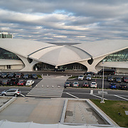 The TWA building is seen at JFK International Airport during the holiday season with the Coronavirus (Covid-19) outbreak in Queens, New York on Tuesday, December 8, 2020. (Alex Menendez via AP)