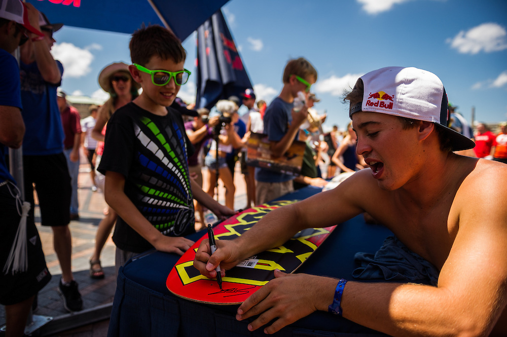 Steel Lafferty sighns autographs for fans at Red Bull Wake Open Park in Tampa Bay, Florida on July 14, 2012