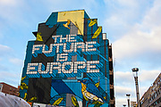 The Future is Europe Mural, Rue de la Loi, Brussels. The non-profit organization URBANA, in partnership with the property development company ATENOR, created this mural with the artist NOVADEAD on the gable of the building located rue de la Loi 103 in 1000 Brussels.