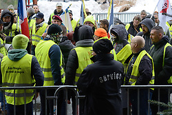 Social movement of the Yellow Vests (Gilets Jaunes) in front of the Grand Hotel where the 26th Gerardmer Film Festival is taking place. All the entries of the hotel are being locked by the police to avoid having any of the Yellow Vests entering the property, in Gerardmer, France on February 02, 2019. Photo by Aurore Marechal/ABACAPRESS.COM