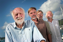 06 April 2011. St Maarten, Antilles, Caribbean.<br /> Antiki crew arrives after epic trans-Atlantic voyage. <br /> L/R Anthony Smith (84 yrs old) British adventurer, David Hildred, sailing master and British Virgin Islands resident,  Dr Andrew Bainbridge of Alberta, Canada and John Russell, solicitor and UK resident.<br /> Photo; Charlie Varley/varleypix.com