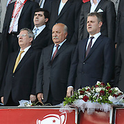 Turkish soccer club Fenerbahce president Aziz YILDIRIM (L) and Turkish soccer club Trabzonspor president Sadri SENER (C), Mahmut OZGENER (R) president of the Turkish Football Federation during their Turkey Cup final match Trabzonspor between Fenerbahce at the GAP Arena Stadium at Urfa Turkey on wednesday, 05 May 2010. Photo by TURKPIX