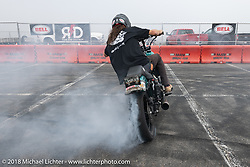 Ride and Destroy Bell Helmets stunt team at the RSD Moto Beach Classic. Huntington Beach, CA, USA. Saturday October 27, 2018. Photography ©2018 Michael Lichter.