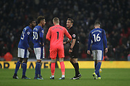 Jordan Pickford , the goalkeeper of Everton and the Everton players protest to the referee after Harry Kane's goal. <br /> Premier league match, Tottenham Hotspur v Everton at Wembley Stadium in London on Saturday 13th January 2018.<br /> pic by Kieran Clarke, Andrew Orchard sports photography.