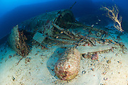 """The wreck of the B24J Liberator """"Tulsamerican"""", Vis, Croatia, which lies between 40 and 55 metres. This aircraft was celebrated in WW2"""