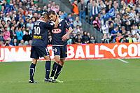 FOOTBALL - FRENCH CHAMPIONSHIP 2009/2010 - L1 - GIRONDINS BORDEAUX v LILLE OSC - 21/03/2010 - PHOTO FRANCOIS FLAMAND / DPPI <br /> JUSSIÊ  (BOR) / MAROUANE CHAMAKH (BOR)