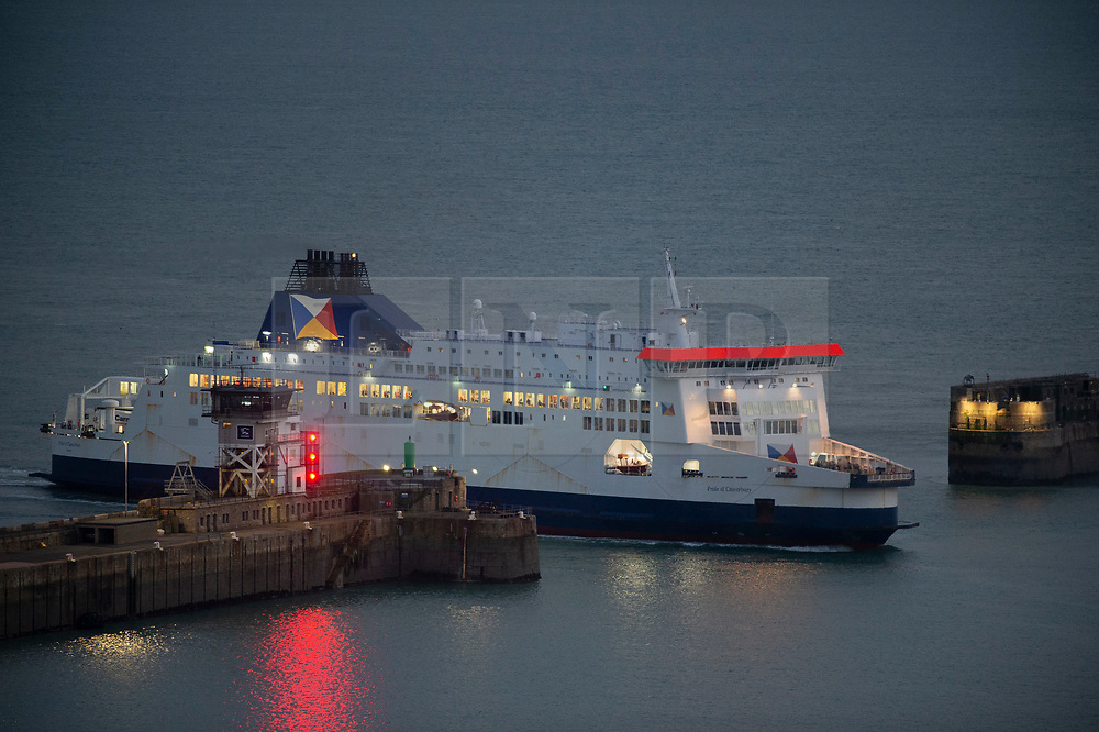 © Licensed to London News Pictures. 12/12/2020. <br /> Dover, UK. A P&O ferry arriving at the Port of Dover in Kent this evening from France. When the Brexit transition period end on December 31st there will be new rules for travelling to the EU. Photo credit:Grant Falvey/LNP