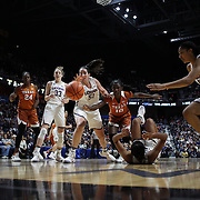 UNCASVILLE, CONNECTICUT- DECEMBER 4: Natalie Butler #51 of the Connecticut Huskies challenges for a loose ball with Lashann Higgs #10 of the Texas Longhorns during the UConn Huskies Vs Texas Longhorns, NCAA Women's Basketball game in the Jimmy V Classic on December 4th, 2016 at the Mohegan Sun Arena, Uncasville, Connecticut. (Photo by Tim Clayton/Corbis via Getty Images)