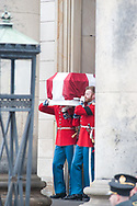 20.02.2018. Copenhagen, Denmark. <br /> Officers from the Royal Guard carry the coffin of Prince Henrik, the husband of Queen Margrethe of Denmark, from Christiansborg Palace Church to the hearse.<br /> Photo: Ricardo Ramirez.