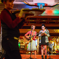 110714  Adron Gardner/Independent<br /> <br /> The duo, Free Range, Maria Montagnini and Sophia Venegas provide live music for guests at the Adventure Gallup banquet at El Rancho Hotel in Gallup Thursday