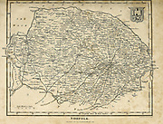 Ancient 19th Century map of Norfolk a county in East Anglia in England. Copperplate engraving From the Encyclopaedia Londinensis or, Universal dictionary of arts, sciences, and literature; Volume XVII;  Edited by Wilkes, John. Published in London in 1820