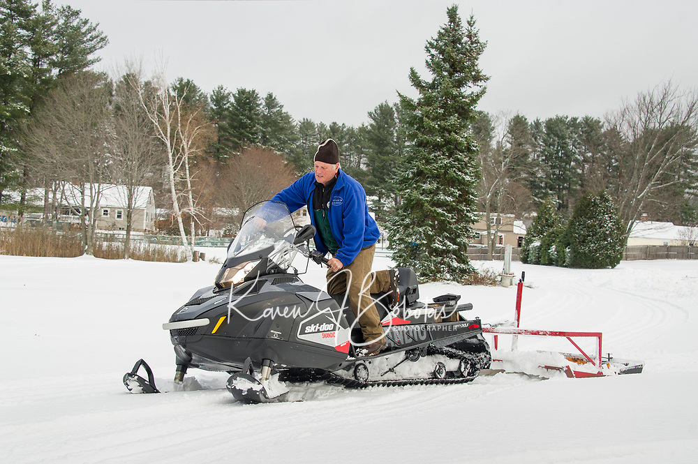 Bob Bolduc grooming out the cross country trails at Bolduc Park; the earliest open date on record.  (Karen Bobotas/for the Laconia Daily Sun)