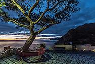 A twilight view of the Love Trail (Via dell'Amore) in Riomaggiore, towards Manarola.