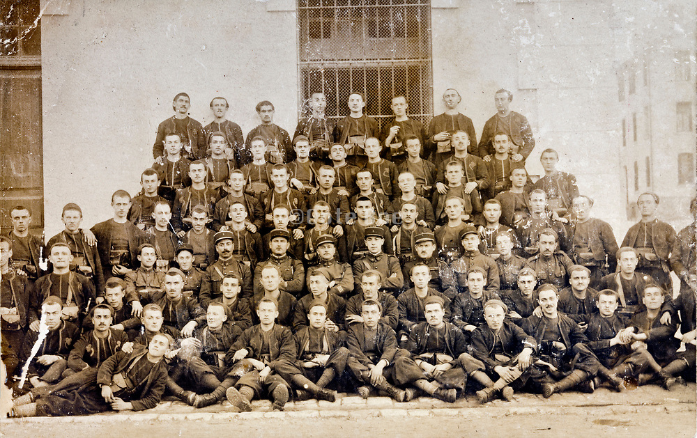formal large group portrait young French soldiers with their commanders 1910s