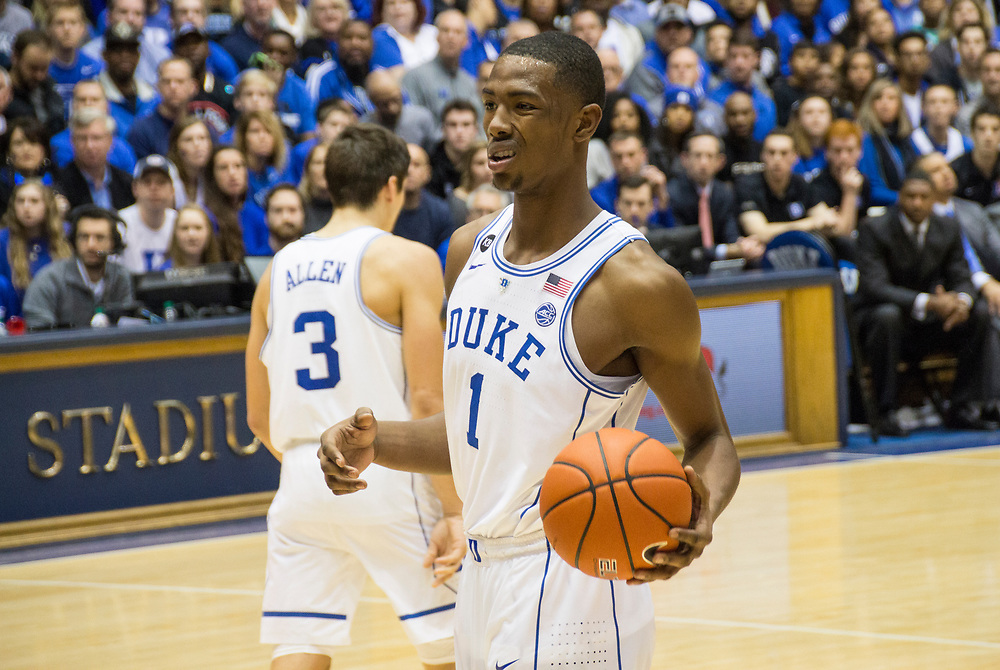 Harry Giles disagrees with the call during his college debut as the Duke Blue Devils host the Tennessee State Tigers on December 19, 2016.