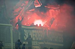 28.10.2014, Stadion an der Gellertstraße, Chemnitz, GER, DFB Pokal, Chemnitzer FC vs SV Werder Bremen, 2. Runde, im Bild Pyrotechnik im Bremer Block vor dem Anpfiff // during German DFP Pokal 2nd round match between Chemnitzer FC and SV Werder Bremen at the Stadion an der Gellertstraße in Chemnitz, Germany on 2014/10/28. EXPA Pictures © 2014, PhotoCredit: EXPA/ Andreas Gumz<br /> <br /> *****ATTENTION - OUT of GER*****