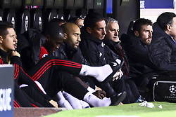 December 12, 2018 - Valencia, Spain - Head coach of Manchester United  Jose Mourinho (R)  during UEFA Champions League Group H between Valencia CF and Manchester United at Mestalla stadium  on December 12, 2018. (Photo by Jose Miguel Fernandez/NurPhoto) (Credit Image: © Jose Miguel Fernandez/NurPhoto via ZUMA Press)