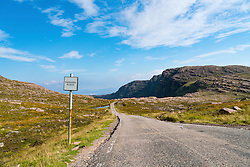 Remote highway on Applecross Peninsula, Wester Ross, part of north Coast 500 tourist route, north Scotland in summer, United Kingdom