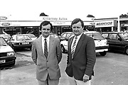 Brothers Jimmy, left and Billy Daly, owners of Killarney Autos pictured outside their premises which is now Supervalu Supermarket in 1987<br /> Killarney Now & Then - MacMONAGLE photo archives.<br /> Picture by Don MacMonagle -macmonagle.com