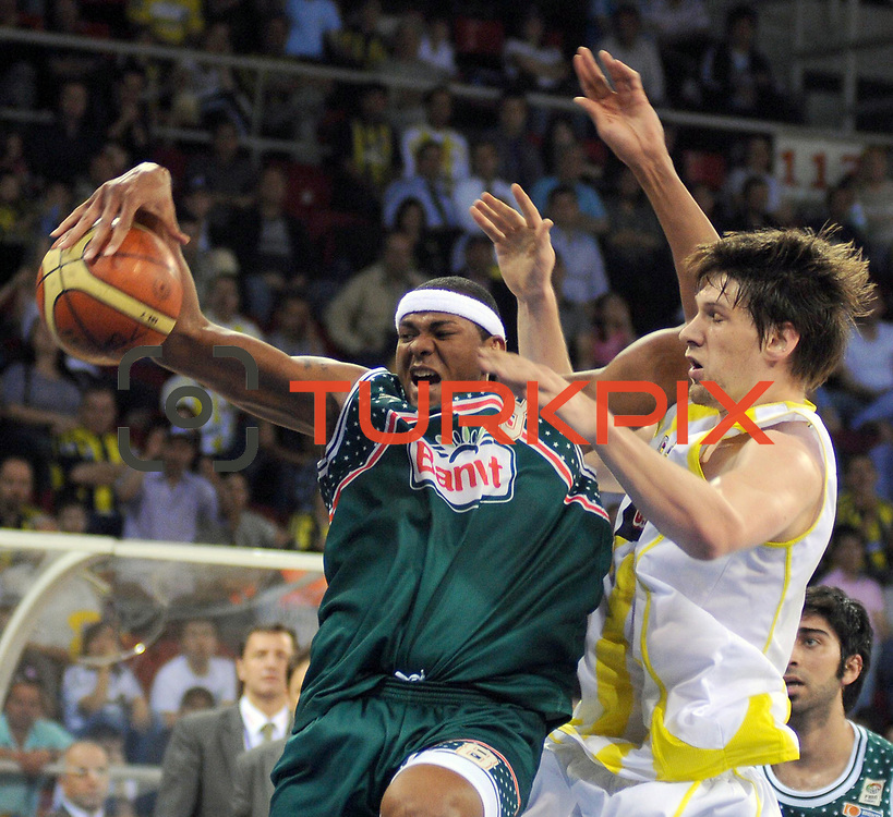 Banvit's Charles Edward DAVIS Jr (L) during their Turkish Basketball league semi final second leg match Fenerbahce Ulker between Banvit at Abdi Ipekci Arena in Istanbul, Turkey, Wednesday, May 12, 2010. Photo by TURKPIX