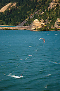 USA, Oregon, Columbia Gorge National Scenic Area, Mitchell Point, kiteboarder.