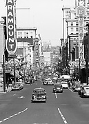 ackroyd_01761-01a. Looking north on Broadway from Madison. Traffic was still going two-way on Broadway when this picture was taken on September 20, 1949