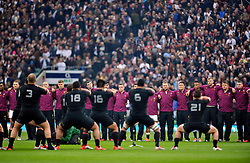 The England squad watch as New Zealand perform the haka prior to the match - Photo mandatory by-line: Patrick Khachfe/JMP - Mobile: 07966 386802 08/11/2014 - SPORT - RUGBY UNION - London - Twickenham Stadium - England v New Zealand - 2014 QBE Internationals