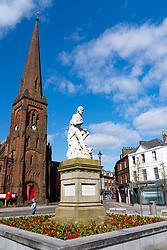 View of Robert Burns statue in Dumfries town in Dumfries and  Galloway, Scotland, UK