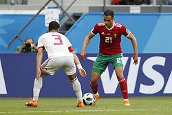 (l-r) Ehsan Hajisafi of IR Iran, Sofyan Amrabat of Morocco