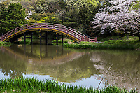 """Soribashi Bridge at Shomyoji - Shomyoji was built by Sanetoki Hojo during the Kamakura period, and was made the Hojo family temple of the Kanazawa area. The Jodo style garden with Ajiike Pond in front of the main temple is its most unique feature when considering the arched bridge. The temple's bell was portrayed in the woodblock print """"Shomyo-no-Bansho,"""" one of eight prints depicting views of Kanazawa by Hiroshige Utagawa."""