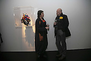 Phyllida Ritter and  Kim Brandstrup, Yinka Shonibare MBE, Flower Time. Private view at the Stephen Friedman Gallery.  Old Burlington St.  London 30 November 2006.   ONE TIME USE ONLY - DO NOT ARCHIVE  © Copyright Photograph by Dafydd Jones 248 CLAPHAM PARK RD. LONDON SW90PZ.  Tel 020 7733 0108 www.dafjones.com
