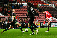 Oliver Banks (29) of Swindon Town shoots at goal during the EFL Sky Bet League 2 match between Swindon Town and Yeovil Town at the County Ground, Swindon, England on 10 April 2018. Picture by Graham Hunt.