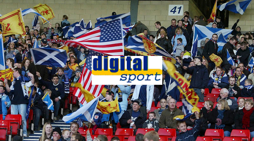 Photo: Andrew Unwin.<br />Scotland v USA. International Challenge. 12/11/2005.<br />The stars and stripes flag is waved among the Scottish banners.