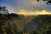 Kilauea Iki, Halemaumau Crater, Erupting in Background, Hawaii Volcanoes National Park, Big Island of Hawaii