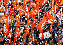 © under license to London News Pictures. 26/03/2011. Anti-Cuts Demonstration in Central London. Trade Union demonstrators on the Embankment. Photo credit should read BETTINA STRENSKE/LNP