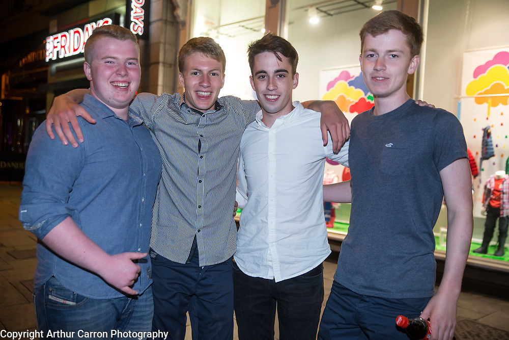 12/8/15 Leaving cert students Tom Quigley, Trim, Sean Kavanagh, Rowan Noone and Conor Fortune, Castleknock, celebrating their results in Dublin. Picture:Arthur Carron