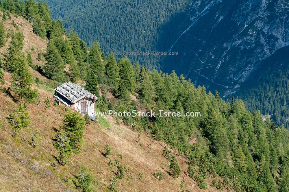 wooden forest rangers shelter on the summit of Mount Elfer, Stubaital, Tyrol, Austria