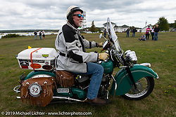Panhead Fred (Stephen Keith) on his 1948 Indian Chief leaving Aune Osborne Park in Sault Sainte Marie, the site of the official start of the Cross Country Chase motorcycle endurance run from Sault Sainte Marie, MI to Key West, FL. (for vintage bikes from 1930-1948). Thursday, September 5, 2019. Photography ©2019 Michael Lichter.