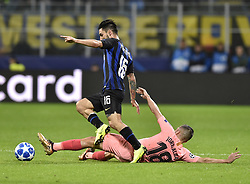 MILAN, Nov. 7, 2018  Inter's Matteo Politano (L) vies with Barcelona's Jordi Alba during the UEFA Champions League Group B match between FC Inter and FC Barcelona in Milan, Italy, on Nov. 6, 2018. The match ended with 1-1 draw. (Credit Image: © Augusto Casasoli/Xinhua via ZUMA Wire)