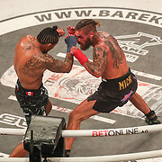 HOLLYWOOD, FL - JUNE 27: Luis Palomino (L) fights Tyler Goodjohn during the Bare Knuckle Fighting Championships at the Seminole Hard Rock & Casino on June 27, 2021 in Hollywood, Florida. (Photo by Alex Menendez/Getty Images) *** Local Caption *** Luis Palomino; Tyler Goodjohn
