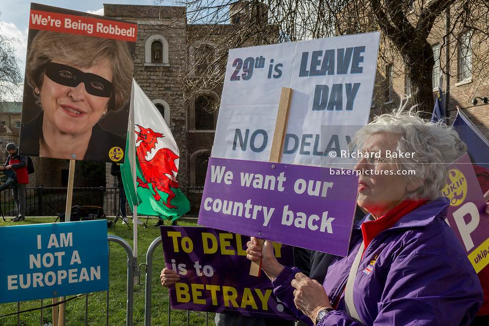 On the day that MPs in Parliament vote on a possible delay on Article 50 on EU Brexit negotiations by Prime Minister Theresa May, an elderly lady UKIP Leaver protests on College Green, on 14th March 2019, in Westminster, London, England.