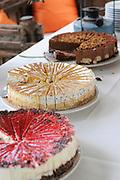 Cream cakes on a buffet dessert table