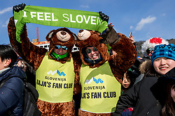 PYEONGCHANG, SOUTH KOREA - FEBRUARY 12: Supporters of Snowboarder Kaja Verdnik of Slovenia during the Women's Halfpipe Snowboard Qualifications at Phoenix Snow Park on February 12, 2018 in PyeongChang, South Korea.  Photo by Ronald Hoogendoorn / Sportida