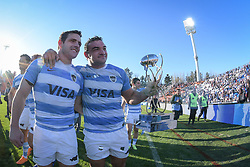 August 25, 2018. Malvinas Argentinas Stadium, Mendoza, Argentina.<br /> NICOLAS SANCHEZ  and AGUSTIN CREEVY celebrates with supporters after the end of the game.